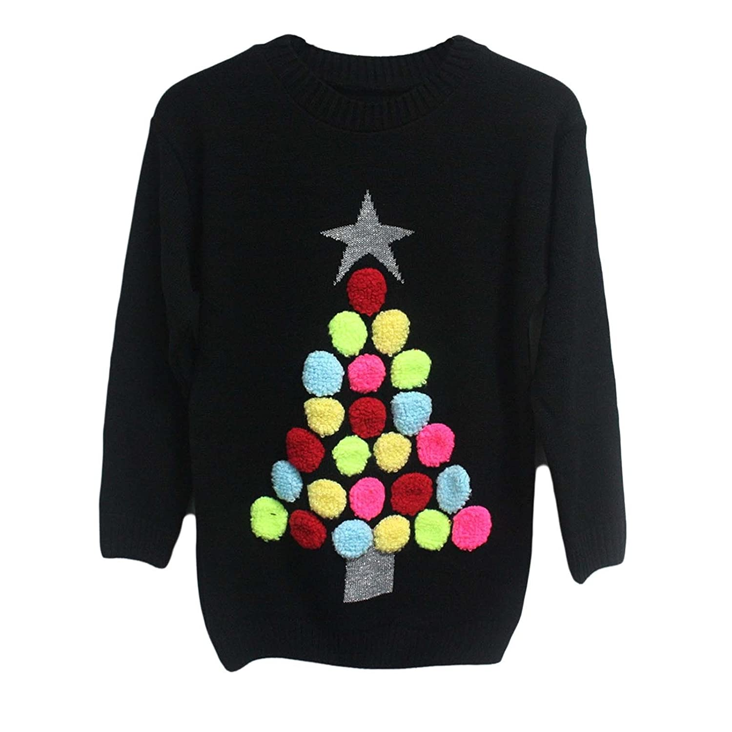 Clothing Trader Ladies Womens Knitted Pom Pom Christmas Tree Novelty Xmas Jumper 3453-m