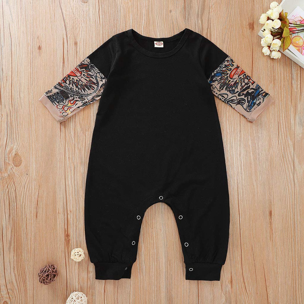 0-2 Years,SO-buts Toddler Newborn Baby Boy Autumnw Casual Tattoo Printed Long Sleeve Patchwork Romper Autumn Bodysuit Jumpsuit