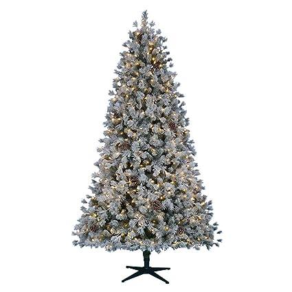 Pre-Lit LED Flocked Lexington Pine Artificial Christmas Tree - Amazon.com: Home Accents Holiday 7.5 Ft. Pre-Lit LED Flocked