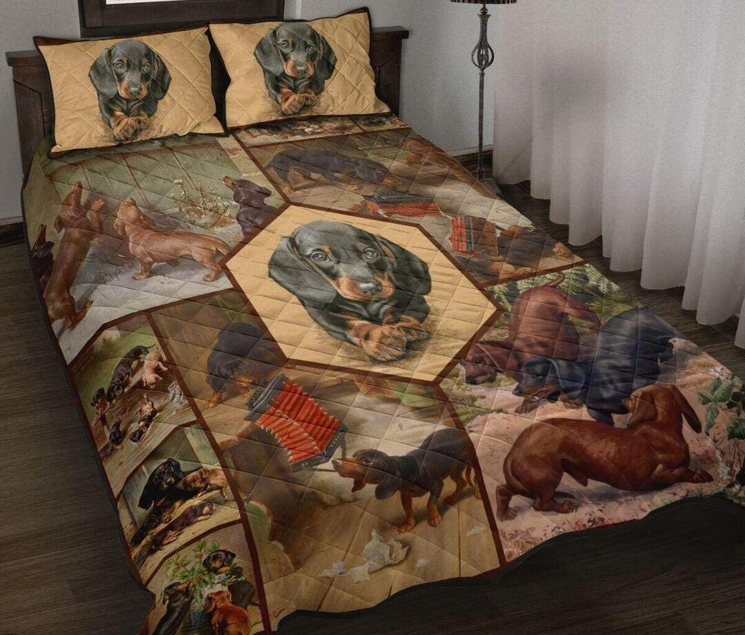 Dachshund Quilt Quilt Bed Sets Christmas Xmas Birthday Little Girls Boys Kids Gifts from Mom Mommy Mother Dad Daddy Father Grandma Grandpa