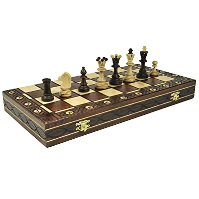 Brown Senator Wooden Chess Set - Weighted Chessmen 16 x 16: Toys & Games