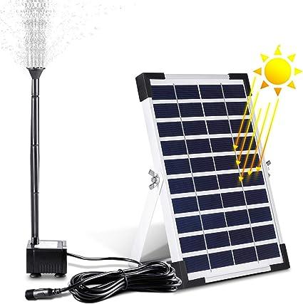 mvpower pompe a eau solaire pour bassin de bassin de jardin de piscine de fontaine 380l h 5w 28 17 6 1 7cm noir