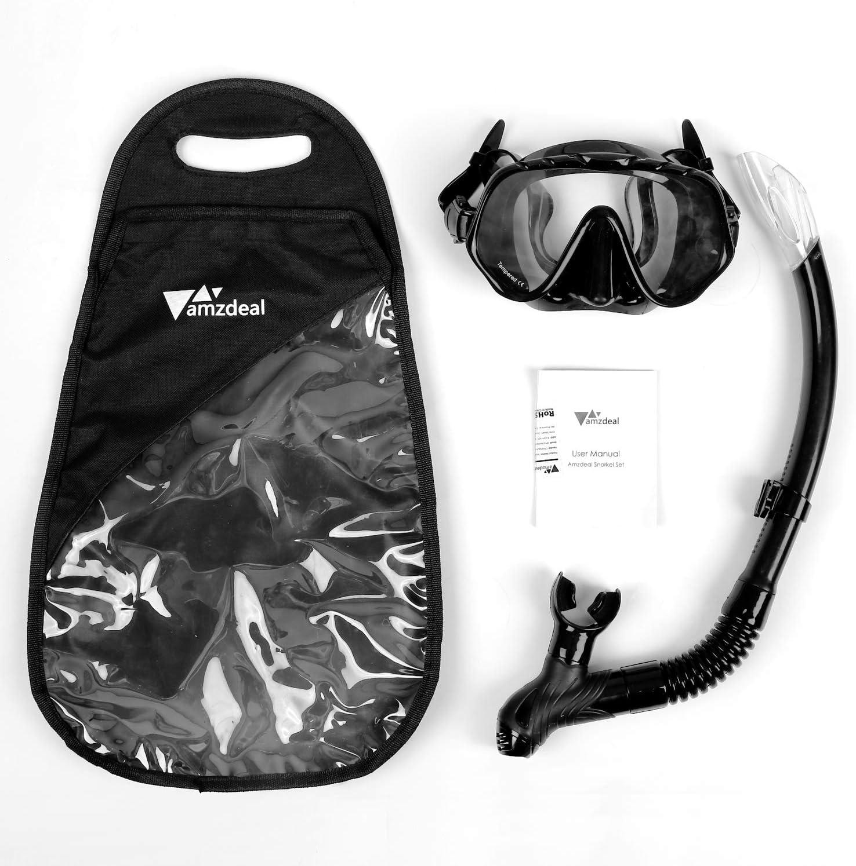 amzdeal Snorkel Set Buceo Gafas y Tubo Colorido con Vista Panor/ámica 180/°M/áscara de Esn/órquel F/ácil de Respirar para Adultos y Juventud