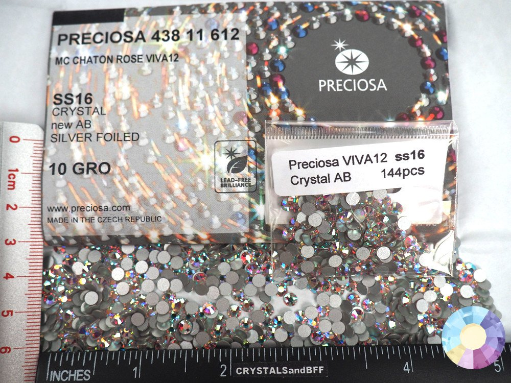 1440pcs ss16 (4mm) Crystal AB, Preciosa Genuine Czech Crystals VIVA12 MC Chaton Rose Flatbacks, 12-Faceted Viva Machine Cut Rhinestone Roses, 16ss clear coated with Aurora Borealis