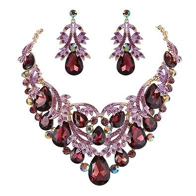 Clearine Women's Bohemian Boho Teardrop Marquise Butterfly Filigree Statement Necklace Dangle Earrings Set vLxBRg