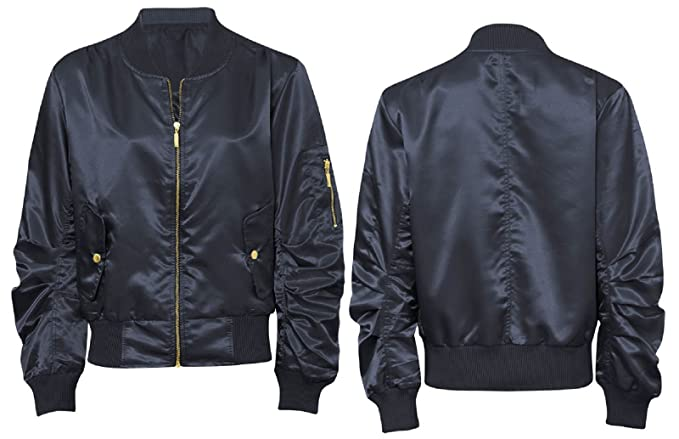 6f140740979 Amazon.com  New Ladies MA1 Satin Army Flight Bomber Biker Womens Summer  Retro Jacket  Clothing