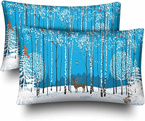 Amazon Com Interestprint Winter Snow Forest Birch Trees Christmas Pillow Cases Pillowcase Standard Size 20x30 Set Of 2 Flock Of Bullfinches And Animals Deer Rectangle Pillow Covers For Home Bedding Decorative Home
