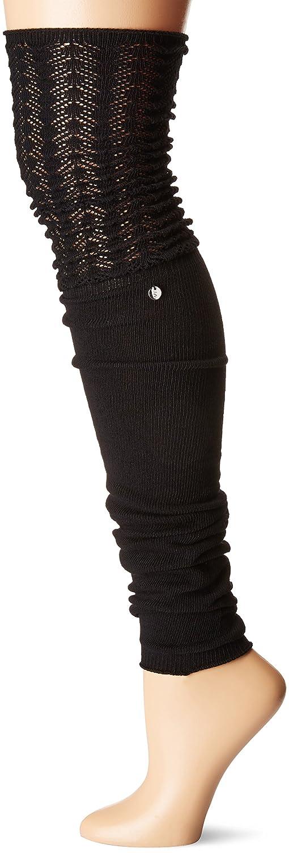 Toesox–Calcetines de las mujeres muslo alta Sasha–Calentadores de piernas, W/ventilador Welt y detalles Pointelle para danza y de la moda, Negro