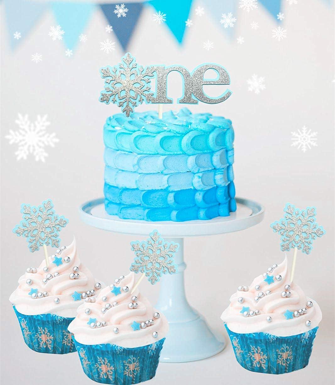 Pleasing Amazon Com Set Of 4 Jevenis Glittery Blue Snowflake Cake Topper Birthday Cards Printable Nowaargucafe Filternl