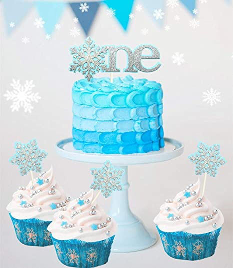 Stupendous Amazon Com Set Of 4 Jevenis Glittery Blue Snowflake Cake Topper Funny Birthday Cards Online Alyptdamsfinfo