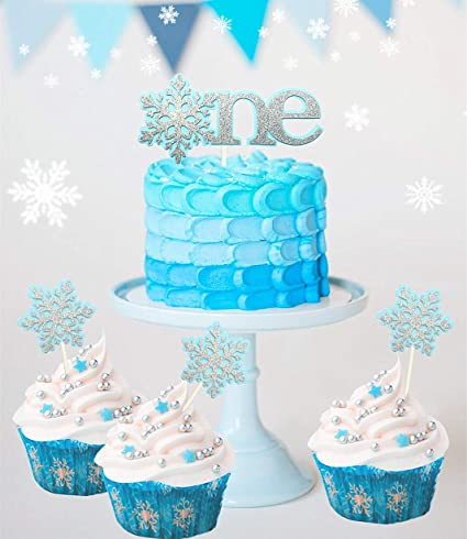 Set Of 4 JeVenis Glittery Blue Snowflake Cake Topper 1st First Birthday Snow