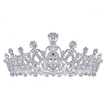 HerZii Bridal Hair Accessories Tiara Rose Gold Crown Vintage Headband Jewelry Rhinestone Crystal Wedding Crown Ik38KFqskx