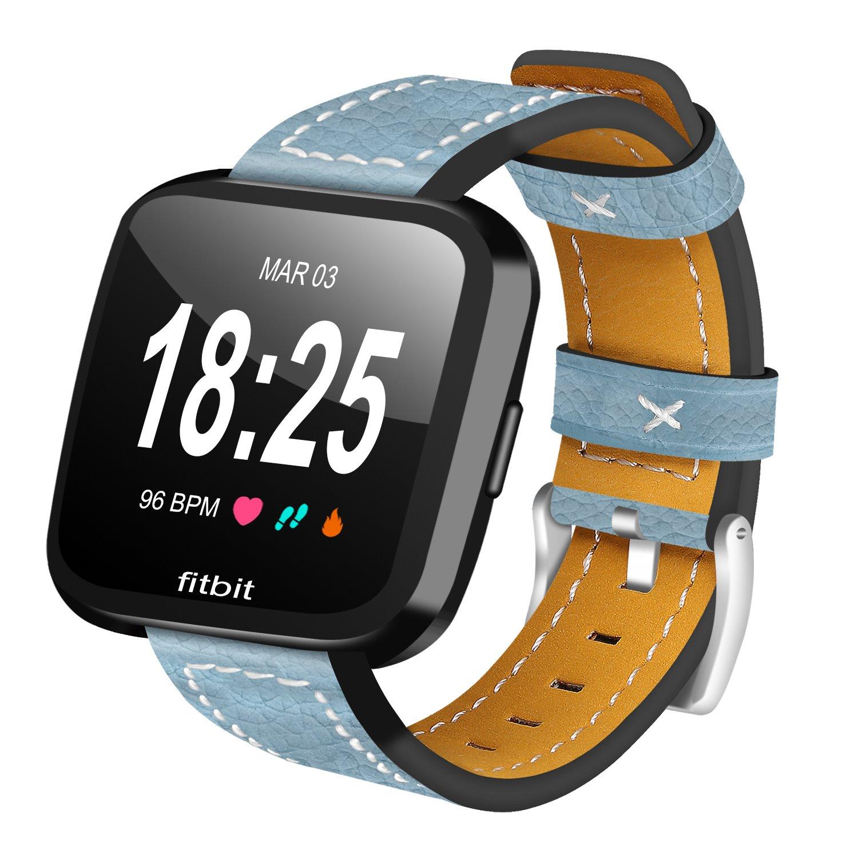 Correa para Fitbit Versa Leather AISPORTS Correa de reloj Fitbit Versa Correa de cuero suave Correa de reloj elegante Correas de repuesto Brazalete de acero ...