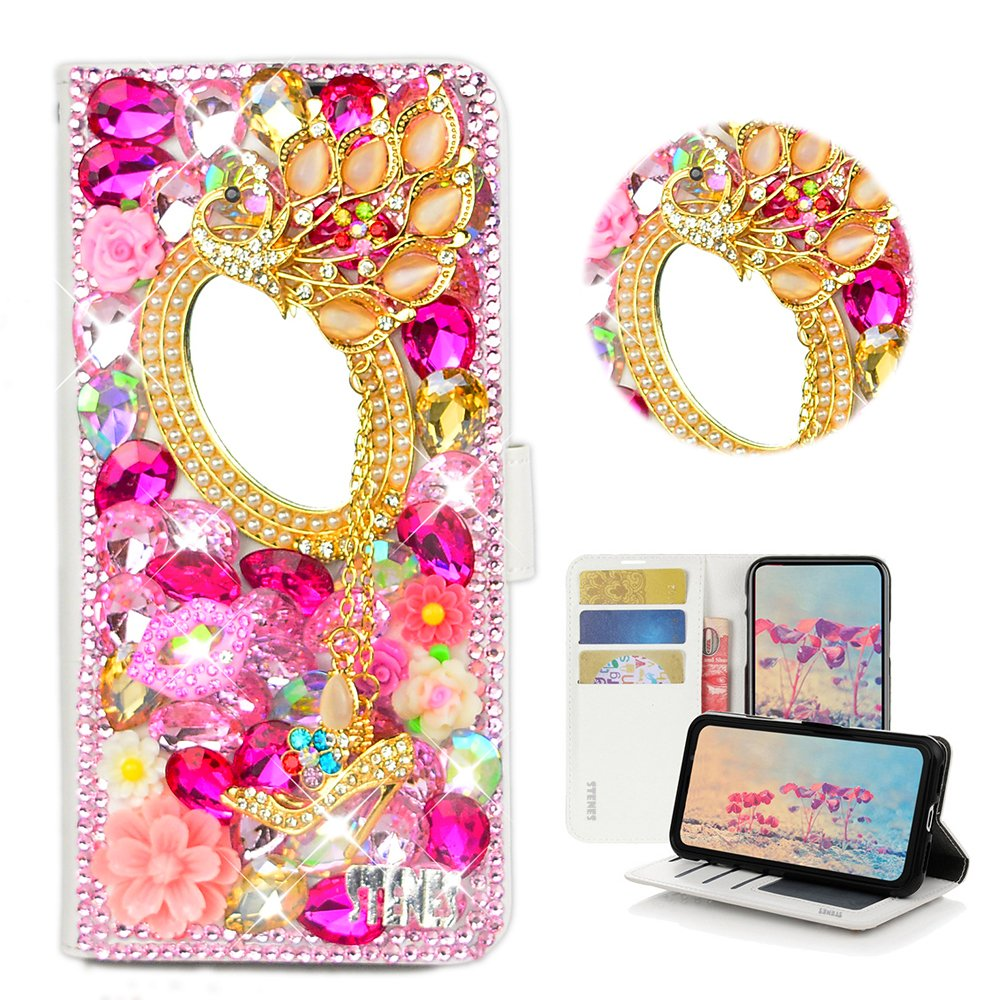 STENES Huawei Ascend XT Case - Stylish - 3D Handmade Bling Crystal Girls Mirror Peacock Pendant Flower Magnetic Wallet Credit Card Slots Fold Stand Leather Cover for Huawei Ascend XT H1611 - Pink by STENES