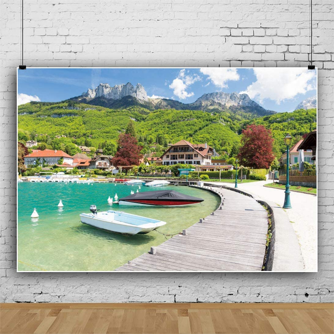 YEELE Scenic France Backdrop 8x6ft Beautiful Marina in Talloires Village on Lake Annecy Photography Background Europe Attractions Tourism Kids Adults Artistic Portrait Photoshoot Props