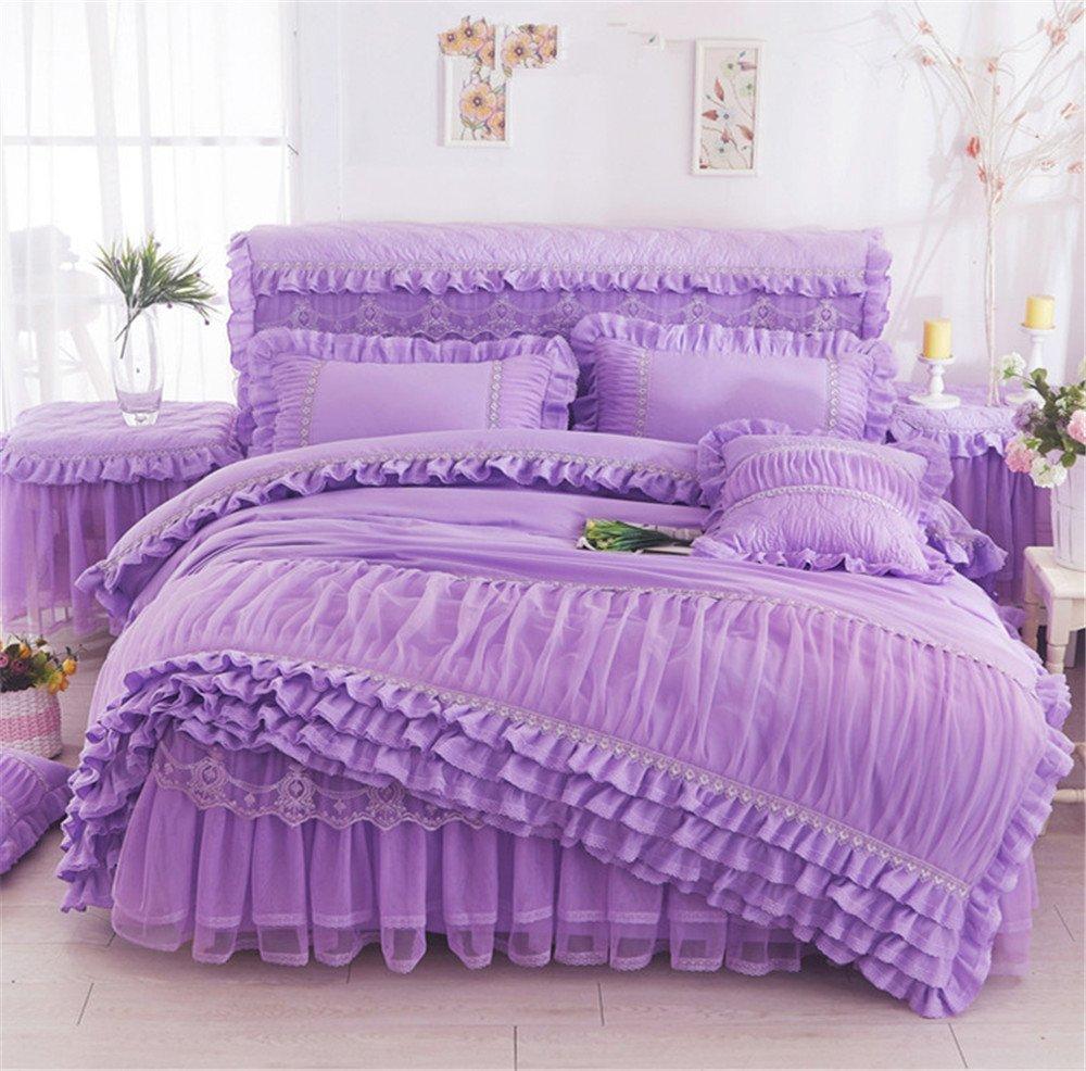 Lotus Karen Korean Princess Girls Bedding Sets 2018 New Design Lace Bed For Girls Heavy-Duty 4-Piece Including 1Duvet Cover 1Bedskirt 2Pillowshams King Queen Full Twin Size