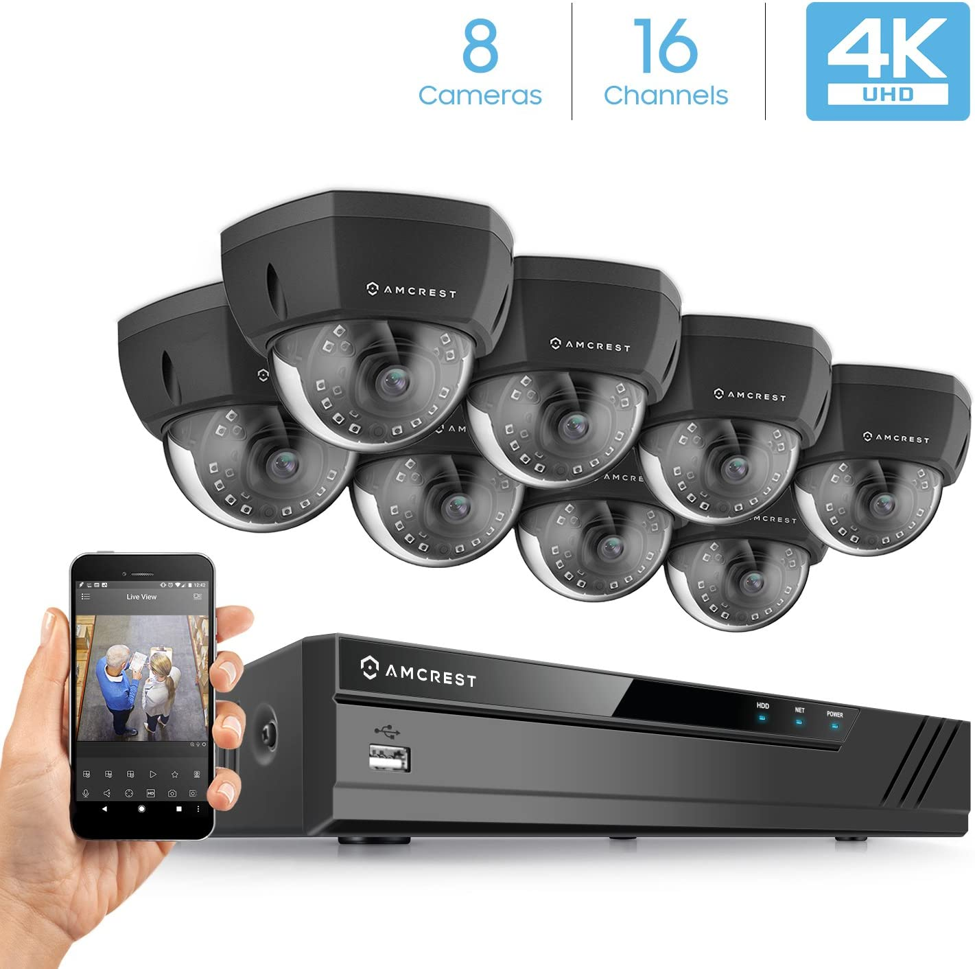 Amcrest 4K Security Camera System w 4K 16CH 8-Port PoE NVR, 8 x 4K 8MP IP67 Weatherproof Metal Dome POE IP Cameras 3840×2160 , 2.8mm Wide Angle Lens, NV4116E-HS-IP8M-2493EB8 Black