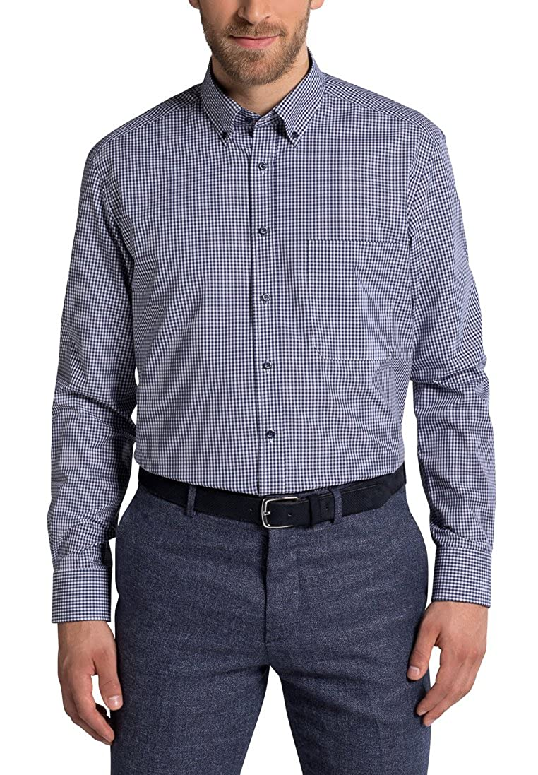 Eterna Long Sleeve Shirt Comfort FIT Poplin Checked
