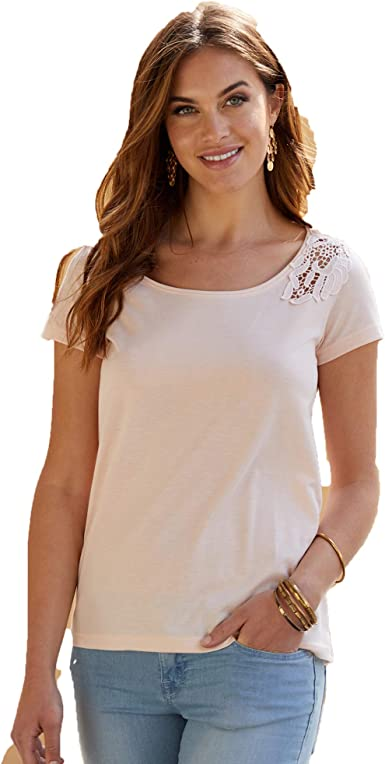 CIFD S.A. Camiseta con Aplicaciones de guipur Mujer by ...