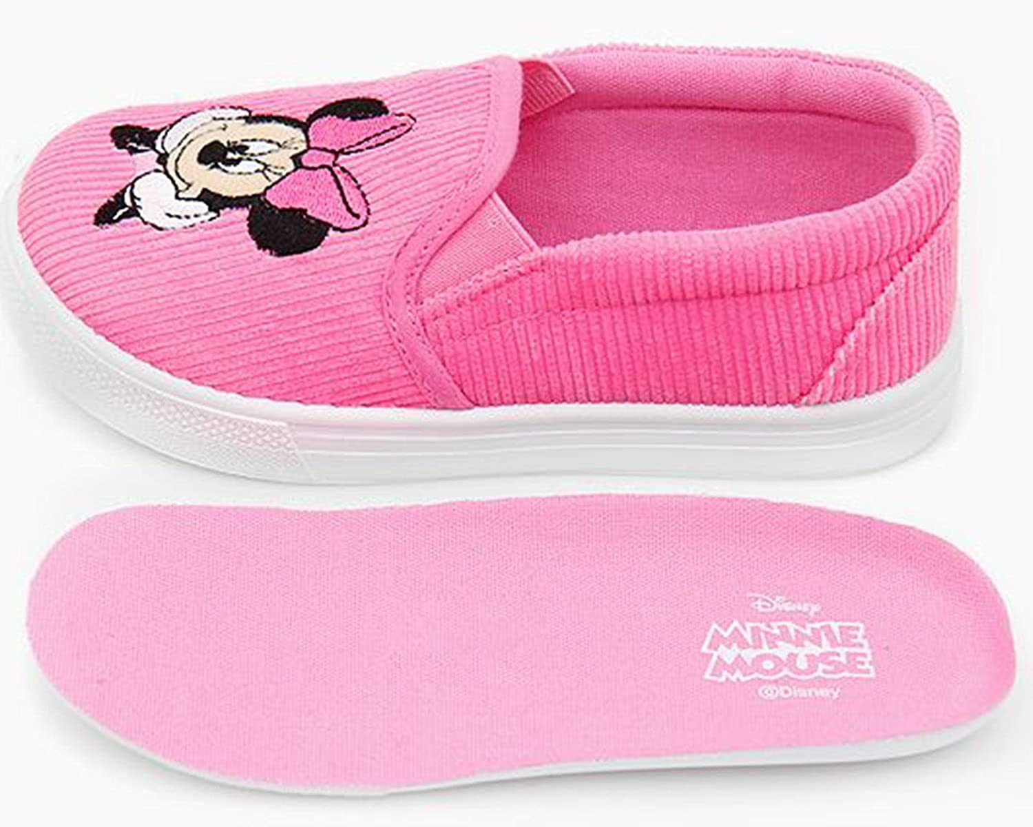 Joah Store Girls Slip-On Sneaker Minnie Mouse Face Pink Shoes Parallel Import//Generic Product