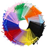 SumDirect 100Pcs 4x4.7 Inches Mixed Color Organza Gift Bags Pouches with Drawstring