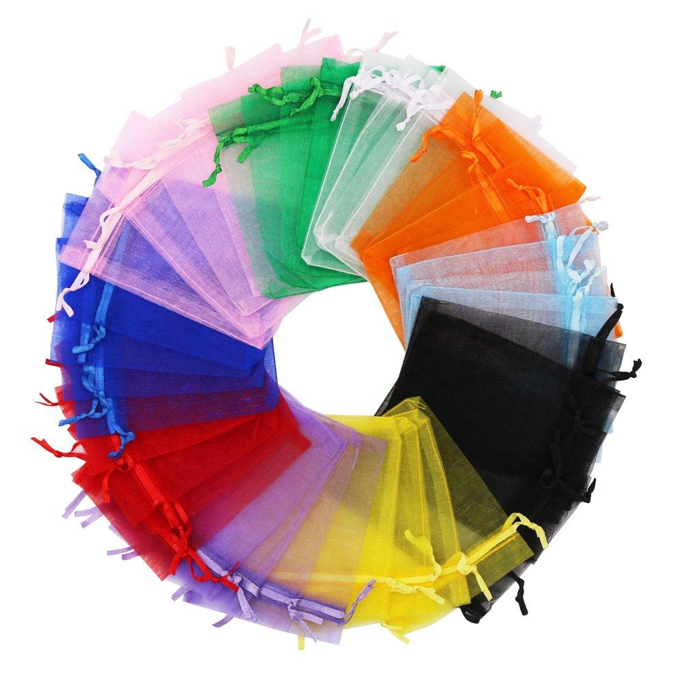 Sumdirect 100pcs 4x4.7 Inches Cordon de Serrage Sacs mariage Sac en Organza Multicolore pour Mariage, Bijoux, Fête SD