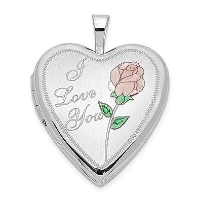 Amazon Fb Jewels 14k 20mm White Gold Enamel Rose I Love You