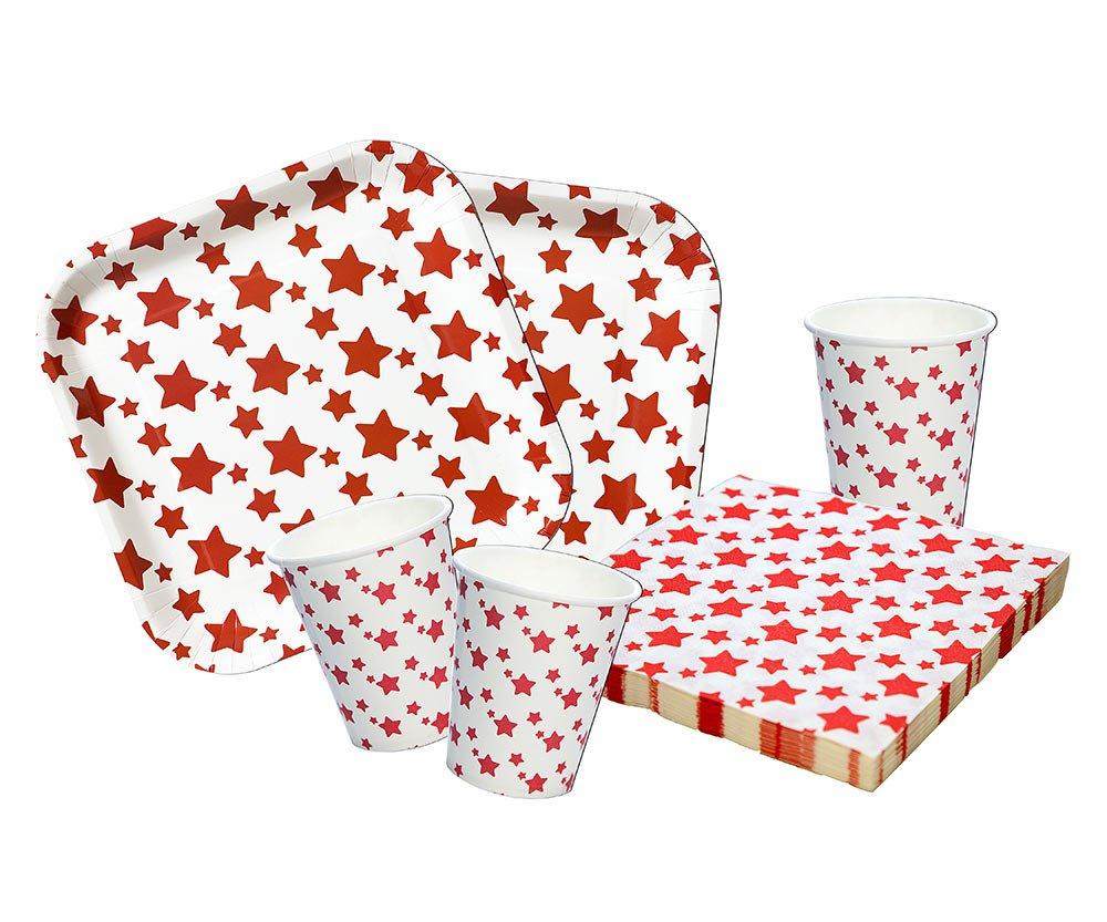 Platos,Vasos y servilletas Desechables Cumpleaños Niña o Niño 88 Piezas Set de Fiesta Cumpleaños Infantil. Vajilla desechable Estrellas Rojas …