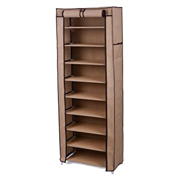 SONGMICS 10 Tier Shoe Tower Rack With Cover 27 Pair Space Saving Shoe  Storage