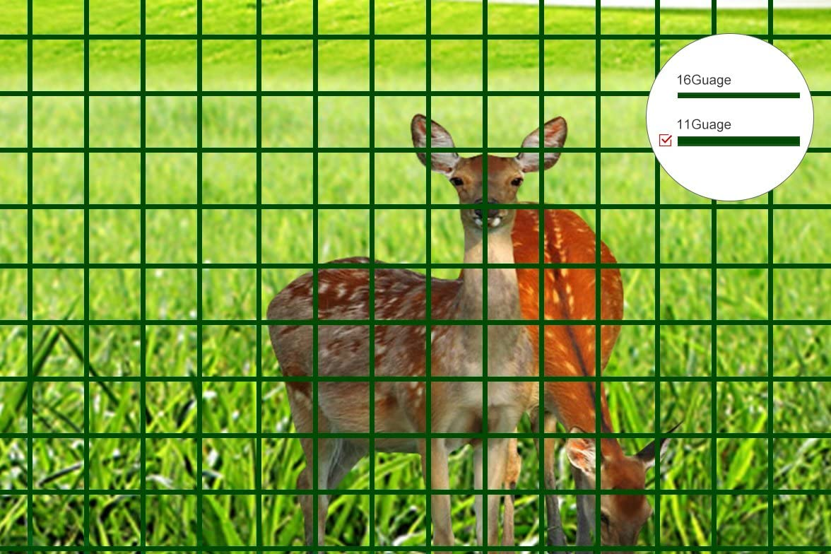 "4/' x 100/' 14 Gauge Welded PVC Coated Wire 2/"" x 4/"" Mesh Deer and Animal Fencing"