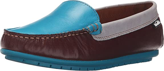 Venettini Kids Boy's 55-Gordy (Toddler/Little Kid/Big Kid) Brown Glazed Leather/Turquoise Glazed Leather/Light Grey Glazed Loafer 25 (US 8.5 Toddler) M