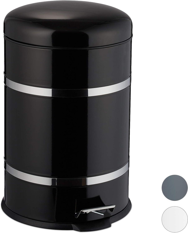 Edelstahl Absenkautomatik Tretm/ülleimer Relaxdays 47 x 29 x 35.5 cm Abfalleimer K/üche Inneneimer mit Henkel schwarz Treteimer 20l