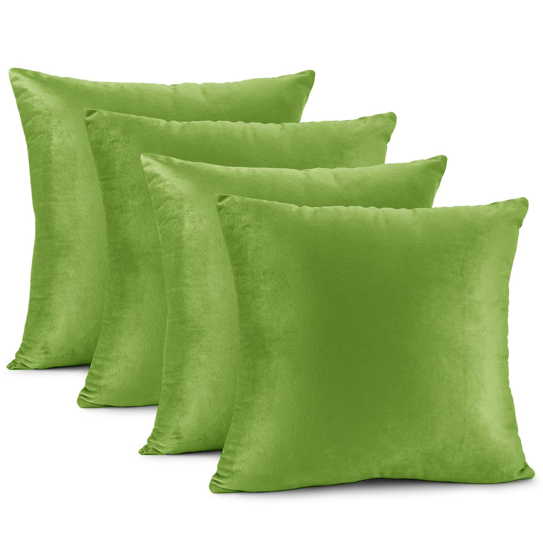 """Nestl Bedding Solid Microfiber Velvet 18"""" x 18"""" Throw Pillow Cover Set of 4, Garden Green"""