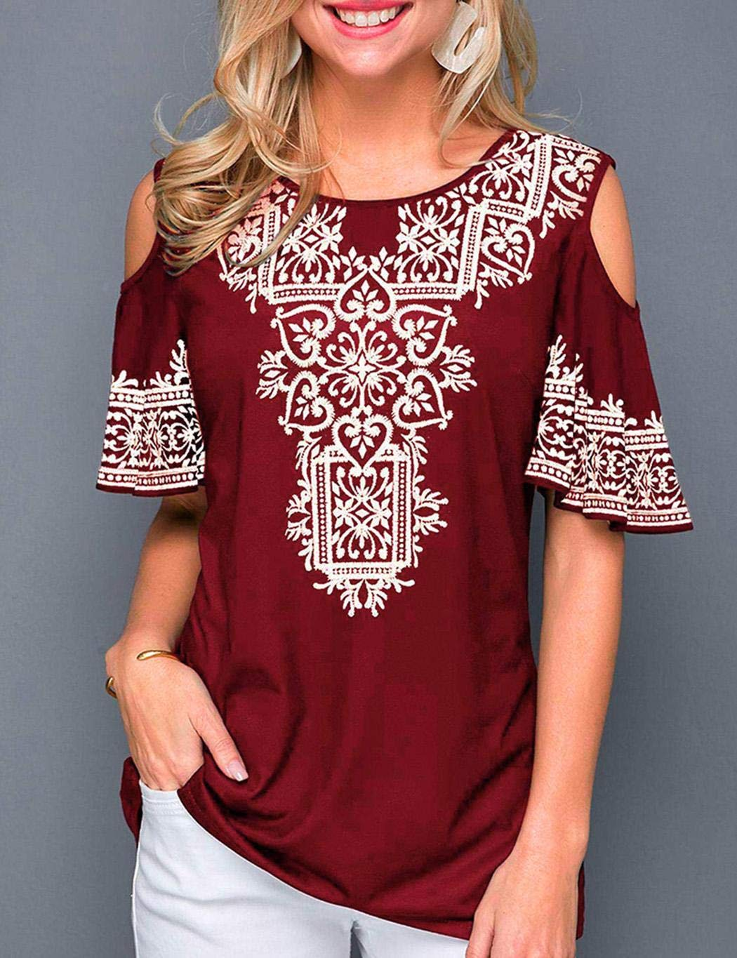 UpBeauty Women Summer O Neck Printed Short Sleeve T-Shirt Casual Off Shoulder Top Knits & Tees S-5XL Red