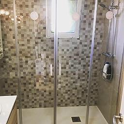 Mampara de ducha frontal de 2 hojas fijas y 2 puertas correderas ...