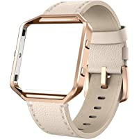 Yutior Fitbit Blaze Straps Leather Band Metal Frame Wrist Strap Small Large for Women Men