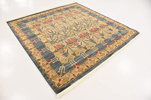 Unique Loom Edinburgh Collection Oriental Traditional French Country Navy Blue Square Rug 6 0 x 6 0