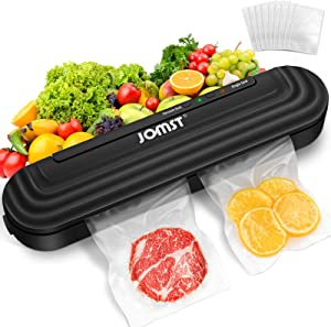 2 in 1 JOMST Vacuum Sealer Machine,Automatic Food Sealer Includes 10 Vacuum Bags for Kitchen Food Preservation with Multi-bag Sealing,Lossless Sealing,Vacuum and Single Seal Modes