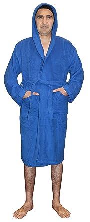 SKYLINEWEARS Mens 100% Terry Cotton Toweling Bathrobe Dressing Robe Hooded  Blue S b05f7fec1