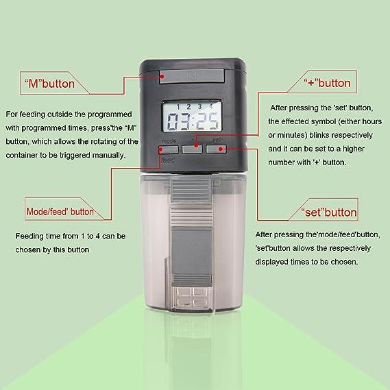 Luxebell Dispensador automático de alimento para peces con pantalla LCD, alimentador de peces de 170 ml Dispensador automático de alimento para peces con ...