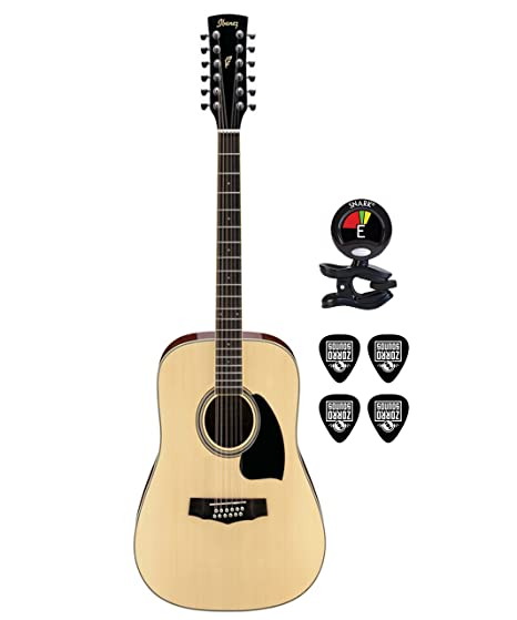 Ibanez Performance Series pf1512 Dreadnought de 12 cuerdas de guitarra acústica en Natural con Clip On