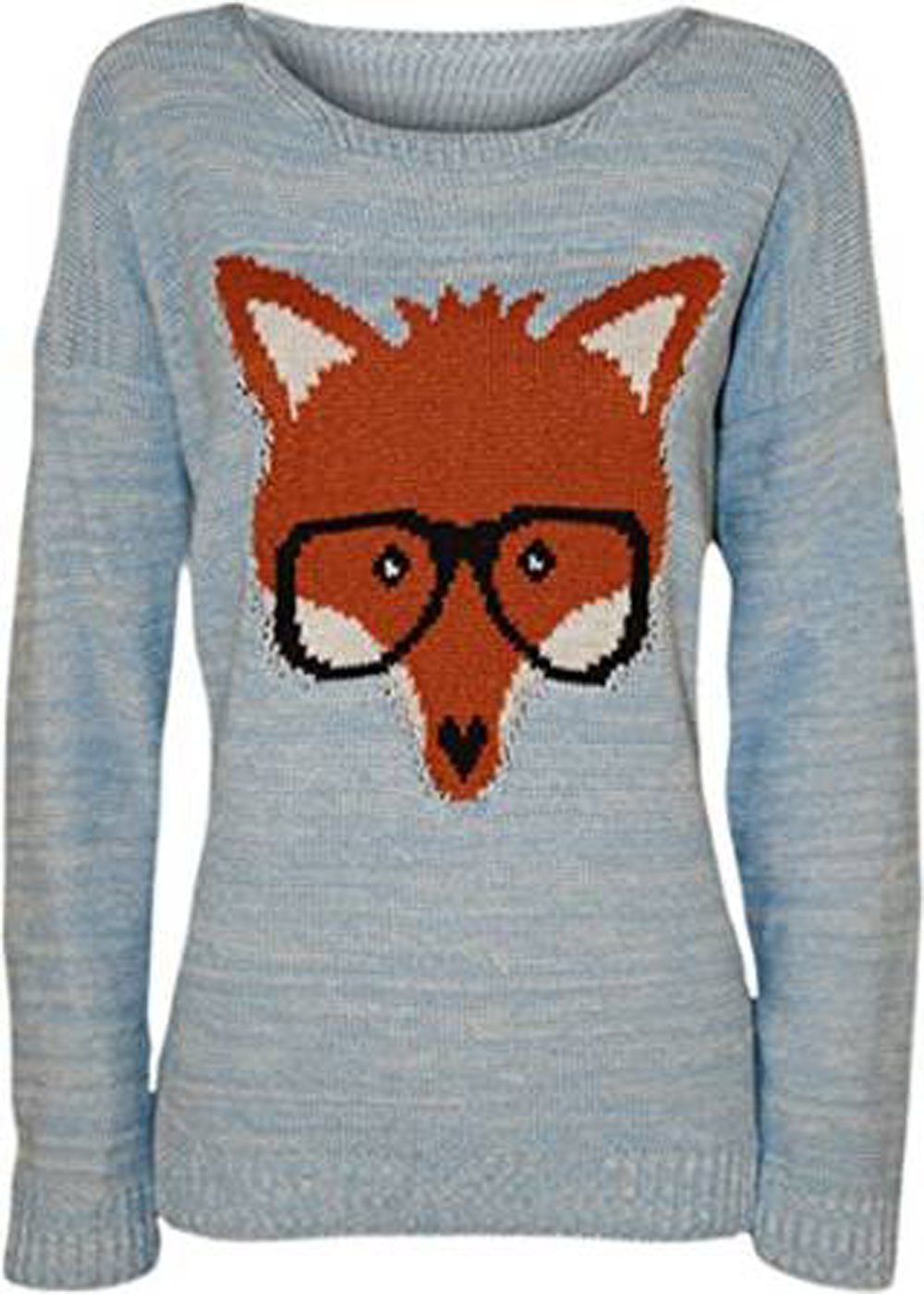 Classy Trendz Womens Fox Glasses Print Long Sleeve Knitted Stretch Jumper (Blue, SM)