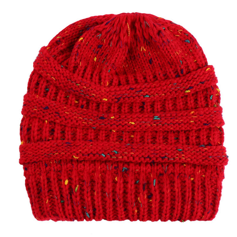 Confetti Red Beauty7 Women Soft Stretch Knit Beanie Cap Slouchy Ponytail Hole Messy Bun Hat