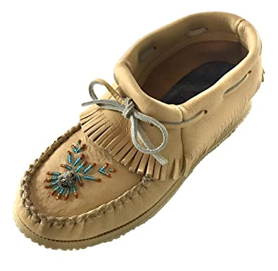 Bastien Industries Womens Natural Tan Moose Hide Leather Beaded Moccasins Shoes ...