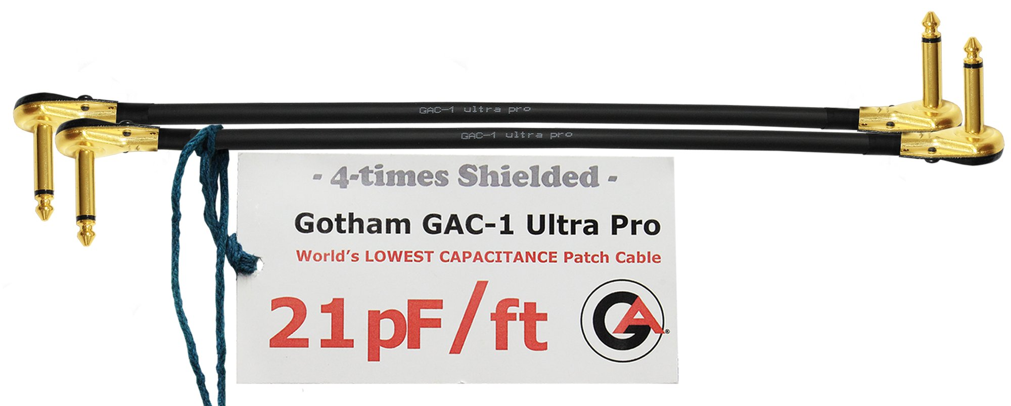 2 Units - 2 Foot - Gotham GAC-1 Ultra Pro - Low-Cap (21pF/ft) Guitar Bass Effects Instrument, S-Shaped Patch Cable & Gold (6.35mm) Low-Profile R/A Pancake Plugs - CUSTOM MADE By WORLDS BEST CABLES