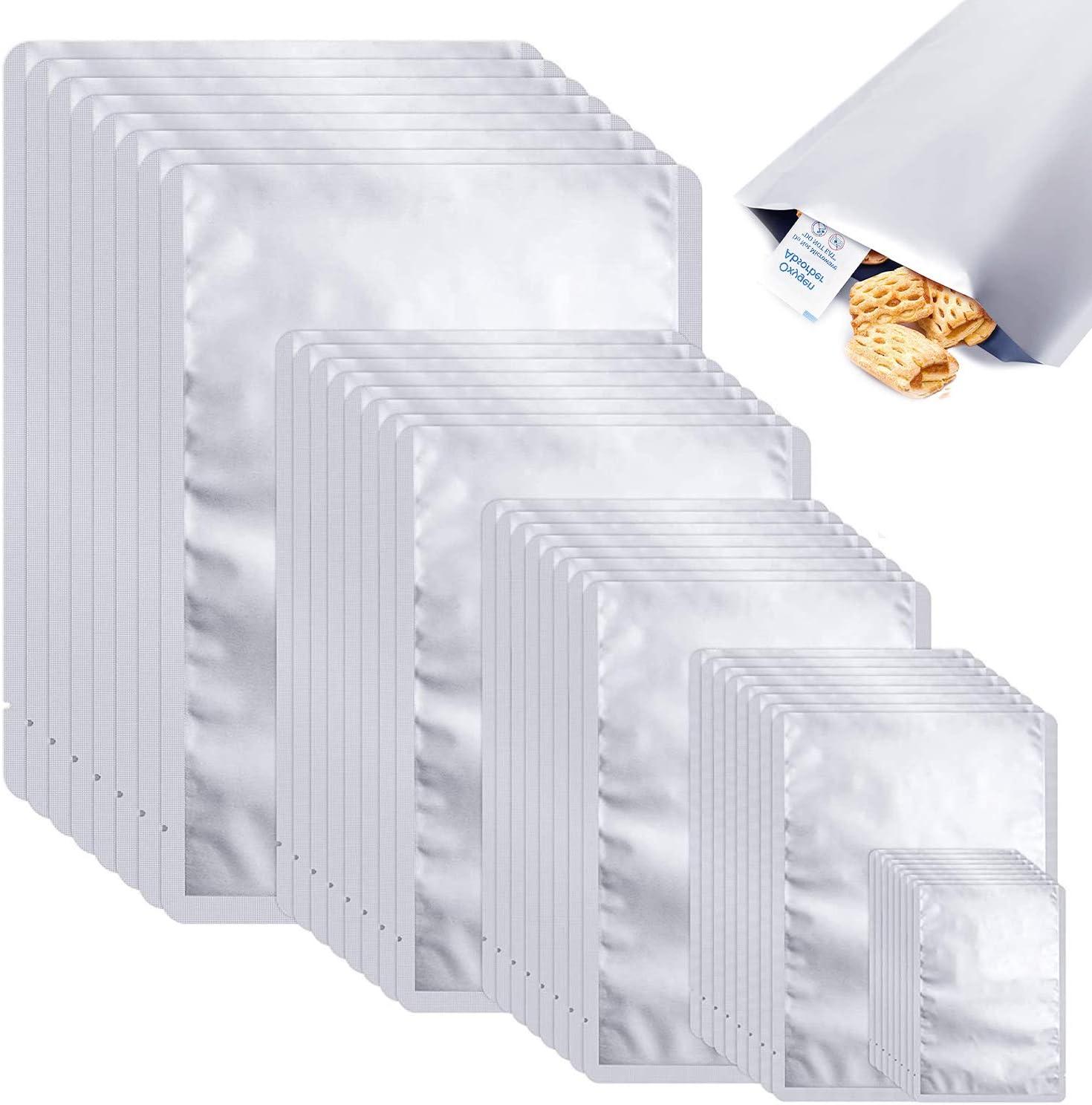 40PCS Mylar Aluminum Foil Bags,5 Sizes Mylar Bags Silver Small Sample Mylar Bags for food storage Metallic Mylar Foil Flat Heat Sealing Bags Mylar Storage Bags Pouch Long Term Food Storage Vacuum