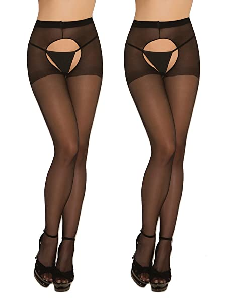 1df1ff68b51 Amazon.com  Womens Sexy Sheer Black Crotchless Pantyhose Hosiery Stockings  Tights- 2 pack  Clothing