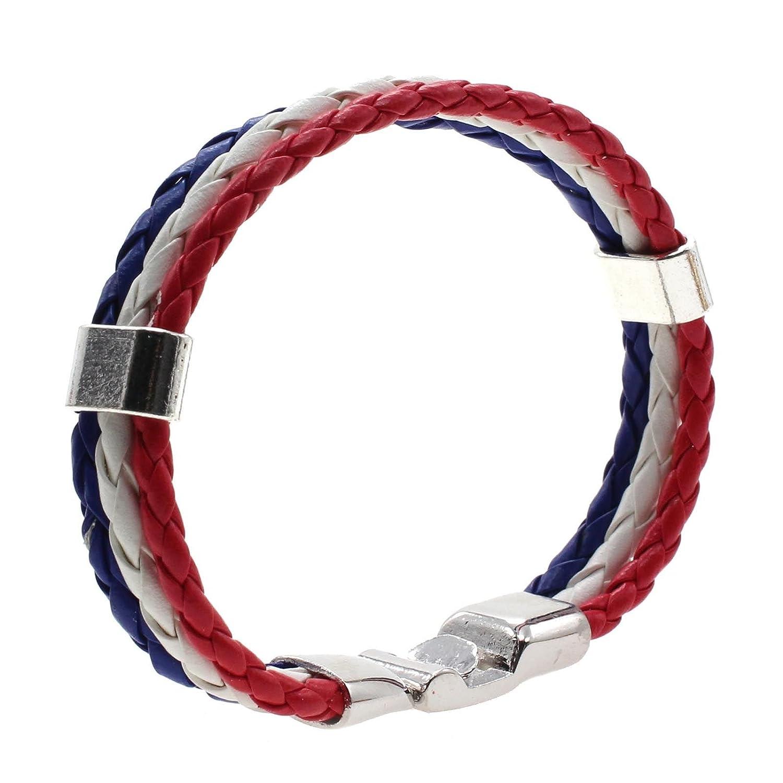 Trendy Unisex Edelstahl Schließe 3 Schicht-Leder geflochtenes Armband Flag Bangle - Frankreich DDU(TM)