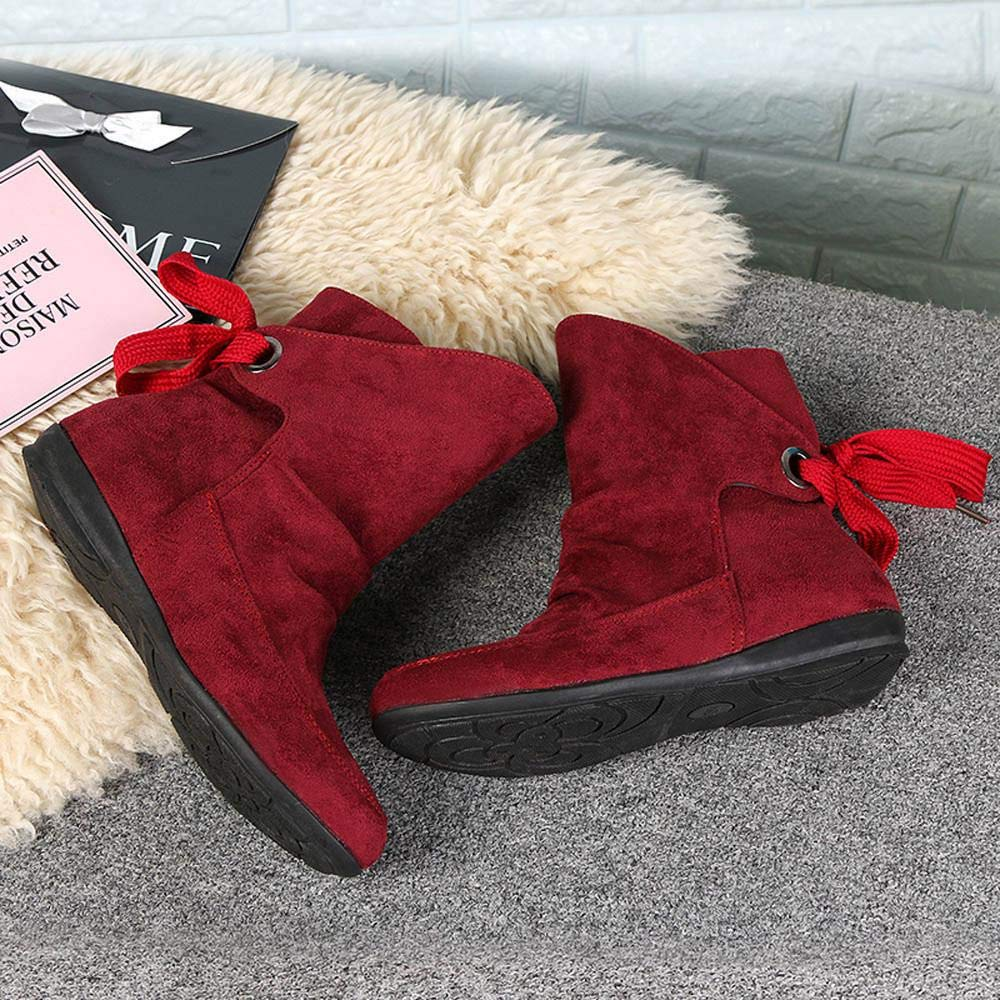 36,Beige Logobeing Zapatos Mujer Botines Mujer Tacon Medio Planos Invierno Alto Botas de Mujer Casual Plataforma Nieve Ante Altas Botas de Cordones Seguridad Zapatillas-Botas
