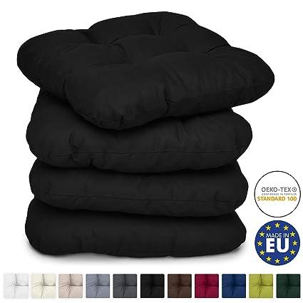 Beautissu Set de 4 Cojines para sillas Lisa 40x40x8 cm - Negro - para sillas de jardín, sofás, Camas - Juego de Cojines con Relleno voluminoso y ...